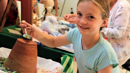 Melbourn Community Showcase 2019: Natalie Gibbs using her marbles for one of the craft fair activiti