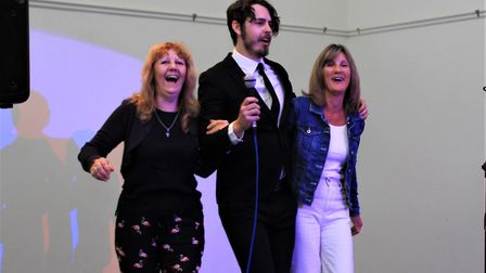 Melbourn Community Showcase 2019: Crooner Tom Frogatt on stage with fans. Picture: Clive Porter