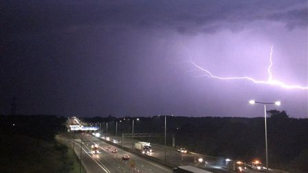 The thunder and lightning storm over the M1 near Redbourn. Picture: Rob Ellingham