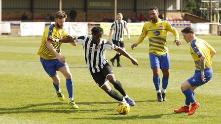 Andrew Osei-Bonsu hit the only goal as St Ives Town beat Rddeitch last season. Picture: LOUISE THOMP