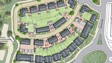 An ariel view on the new homes in Loves Farm
