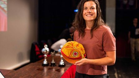 Former St Albans City Youth player Hayley Ladd shows off her 50th cap for Wales. Picture: OOMPH CREA