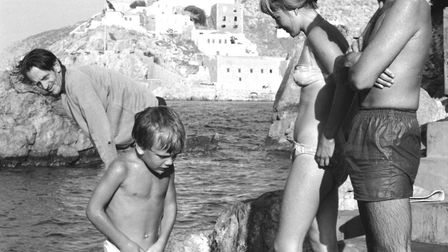 Leonard Cohen and Marriane Ihlen on the shore of Hydra, Greece, 1960. (Photo by James Burke/The LIFE