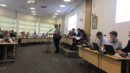 Michelle Edwards presenting the petition at Pathfinder House