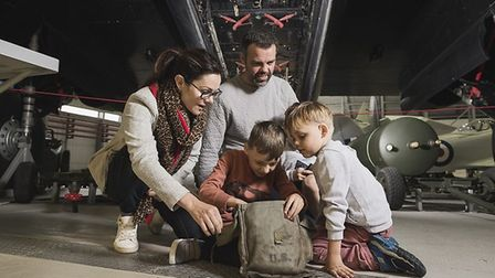 D-Day Family Day at IWM Duxford. Visitors begin their Family Mission: D Day Edition in AirSpace with