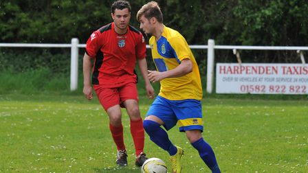 Jimmy Hartley takes on a defender
