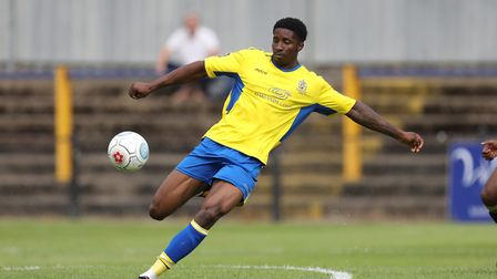 David Longe-King of St Albans clears the ball during St Albans City vs Stevenage, Friendly Match Foo