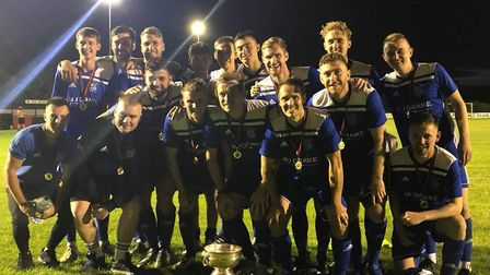 Godmanchester Rovers celebrate their Mayor's Cup success on Wednesday night. Picture: GODMANCHESTER