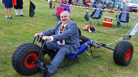Town mayor Councillor Robert Inwood at Royston Kite Festival 2019. Picture: Neil Heywood