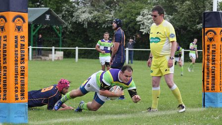 Scott Clewlow bagged two tries for St Albans Centurions in their play-off defeat to St Ives. Picture
