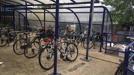 Bike stands at St Albans City Station.