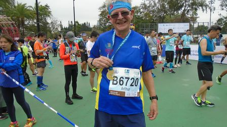 Jack Brooks at the Hong Kong Marathon. Picture: Submitted by Westminster Lodge