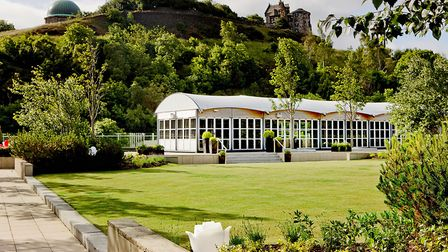 The Glasshouse with a view of Carlton Hill, Edinburgh