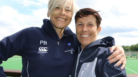Huntingdon Hockey Club star Pam Begg (left) with sister Mo Fawcett. Picture: SALLY HALL