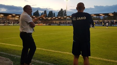 St Albans City's Ian Allinson and Glen Alzapiedi at Dartford, as seen from the press box.