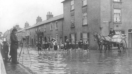 A flood in West Street in St Ives in 1912.