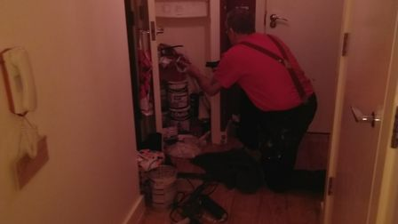 Lee Sharman had to barricade a rat infestation on the balcony of his second-floor flat on Lemsford R