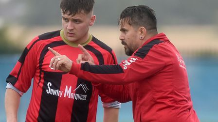 Huntingdon Town goalscorer Ian King with manager Jimmy Brattan. Picture: IAN CARTER