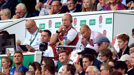 England head coach Eddie Jones (centre right) in the stands during the International match at Twicke