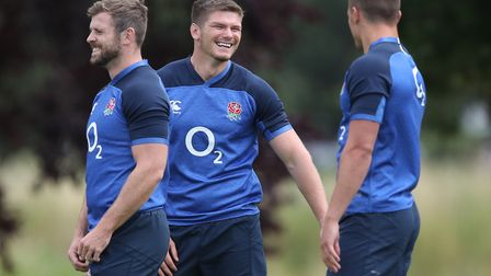 England's Elliott Daly (left), Owen Farrell and Henry Slade during the training session at the Lensb