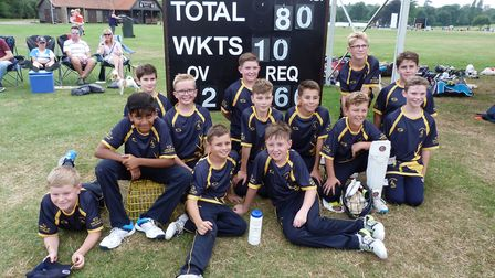 Hunts Under 11s pictured at the Minor Counties Cricket Festival are Sam Andrew, George Buckle, Zeke