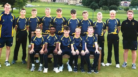 The Hunts Under 14 squad are, back row, left to right, Stuart Dockerill (assistant coach), Jacob Wei