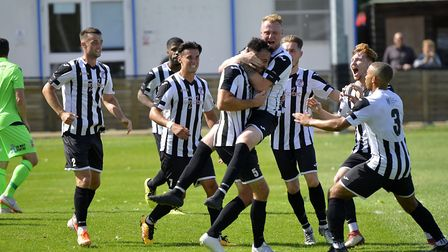 St Ives Town players celebrate Danny Kelly's equaliser in their draw against Tamworth. Picture: DUNC