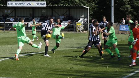 Danny Kelly hits the St Ives Town leveller in their draw with Tamworth. Picture: LOUISE THOMPSON