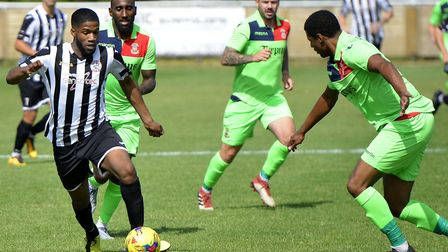 Stiker Ezra Forde made his St Ives Town debut as they held Tamworth. Picture: DUNCAN LAMONT