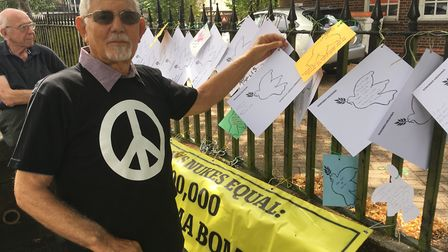 David Leigh, chair of St Albans Campaign for Nuclear Disarmament, marks Hiroshima Day.