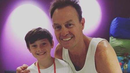 St Albans' Jack Meredith with Jason Donovan, who is in Joseph and the Amazing Technicolor Dreamcoat.