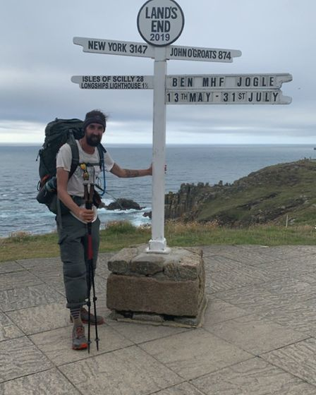 Ben walked from John O'Groats in Scotland to Land's End in Cornwall for the Mental Health Foundation