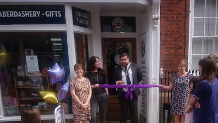 Councillor Daniel Rowe, the mayor of St Ives, opens Star Dancewear and Crafts. Picture: CONTRIBUTED