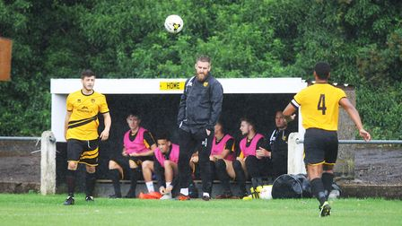 Stotfold V Harpenden Town - Stotford's bench during the FA Cup game with Harpenden Town.Picture: