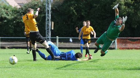 Stotfold V Harpenden Town - Bobby Dance has an attempt at goal for Harpenden Town.Picture: Karyn