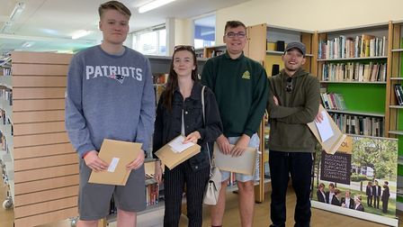 Meridian School A-level results: Archie Fletcher, Carra Bignell, Lewis Ricketts and Alex Thomson. Pi