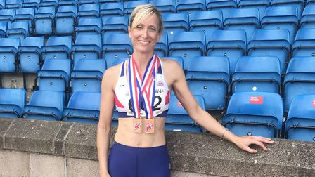 Jo Abel shows off her British Masters Championships medals. Picture: SUBMITTED