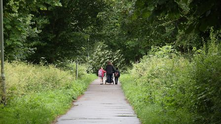 A woman walking along the Alban Way in Hatfield. Picture: Danny Loo