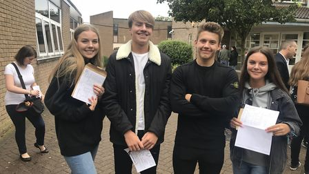 Hinchingbrooke students Tallulah Lord, Daniel Ridley, Cam Jewell and Brianie Moyes collecting their