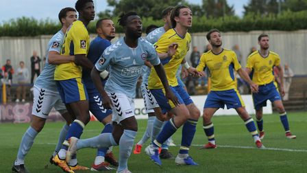 All eyes on the ball during St Albans City's 3-0 defeat to Braintree Town. Picture: JIM STANDEN