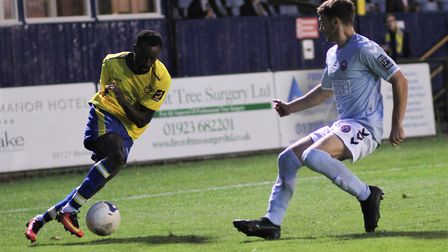 Bobson Bawling in action during St Albans City's 3-0 defeat to Braintree Town. Picture: JIM STANDEN