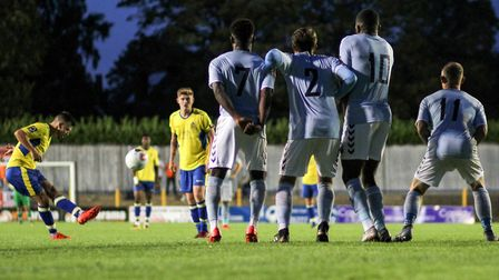 Darren Foxley curls a free-kick over the bar during St Albans City's 3-0 defeat to Braintree Town. P