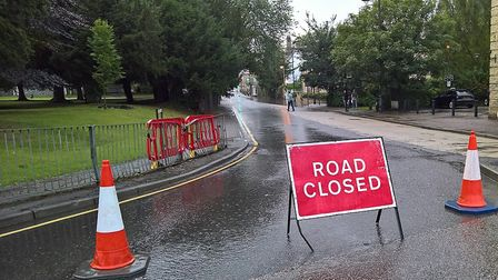 Heavy rain caused road closures and disruption in the town on Sunday. Picture: David Hatton