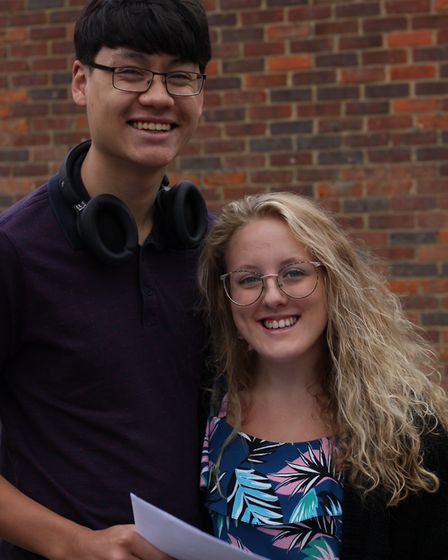 A-level results 2019: Freman College's Ross Cook and Molly Anderson. Picture: Lisa Jones