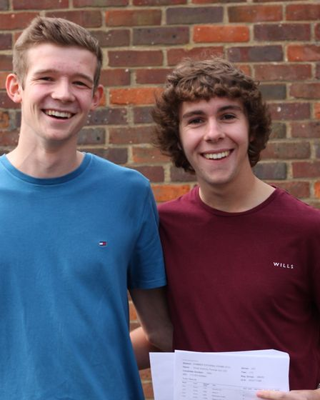 A-level results 2019: Freman College's Aaron Hadfield and Oli Gull. Picture: Lisa Jones