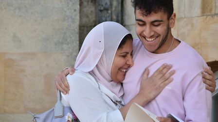 Mazen Badawy from Kimbolton and his mother getting his results