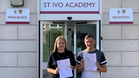 St Ivo - Ella Couchman and Theo Hancock collecting their results this morning.