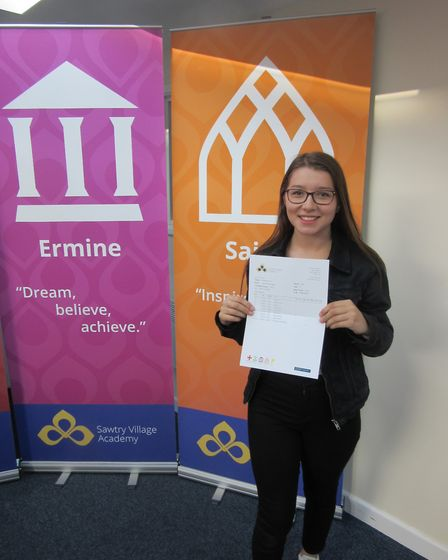 Sawtry Village Academy - Pictured is Jasmine Wade achieved three grade 9s, two grade 8s, four grade