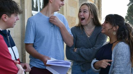 Kimbolton students discussing the results