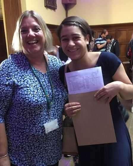 Students from Hinchingbrooke School celebrating their results